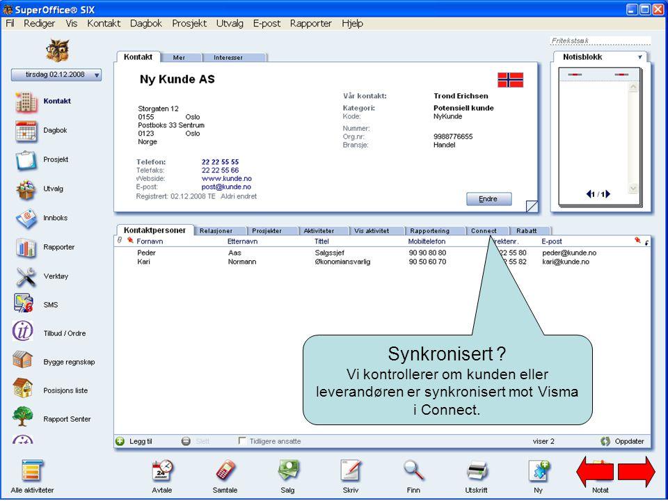 Synkronisert Vi kontrollerer om kunden eller leverandøren er synkronisert mot Visma i Connect.