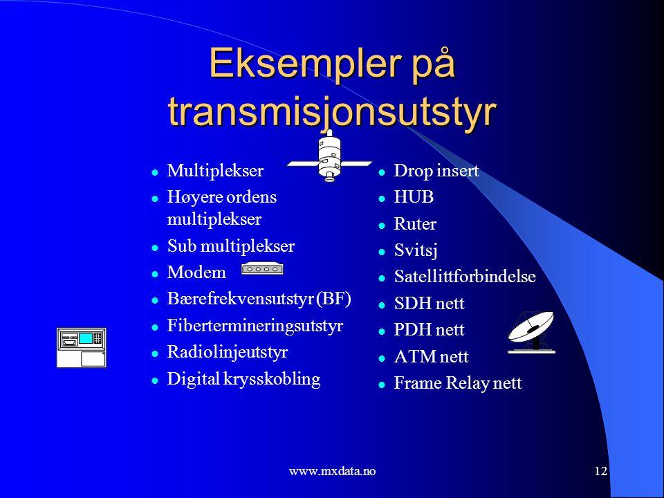 www.mxdata.no12 Eksempler på transmisjonsutstyr  Multiplekser  Høyere ordens multiplekser  Sub multiplekser  Modem  Bærefrekvensutstyr (BF)  Fib