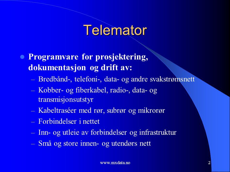 www.mxdata.no2 Telemator  Programvare for prosjektering, dokumentasjon og drift av: – Bredbånd-, telefoni-, data- og andre svakstrømsnett – Kobber- o