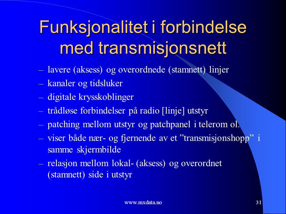 www.mxdata.no31 Funksjonalitet i forbindelse med transmisjonsnett – lavere (aksess) og overordnede (stamnett) linjer – kanaler og tidsluker – digitale