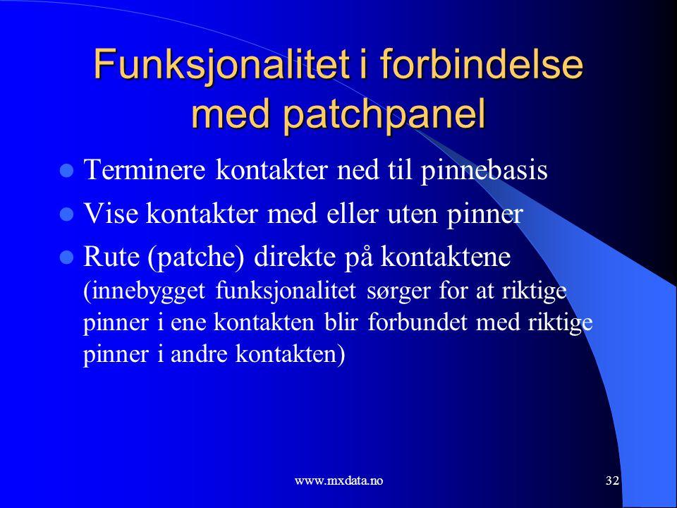 www.mxdata.no32 Funksjonalitet i forbindelse med patchpanel  Terminere kontakter ned til pinnebasis  Vise kontakter med eller uten pinner  Rute (pa