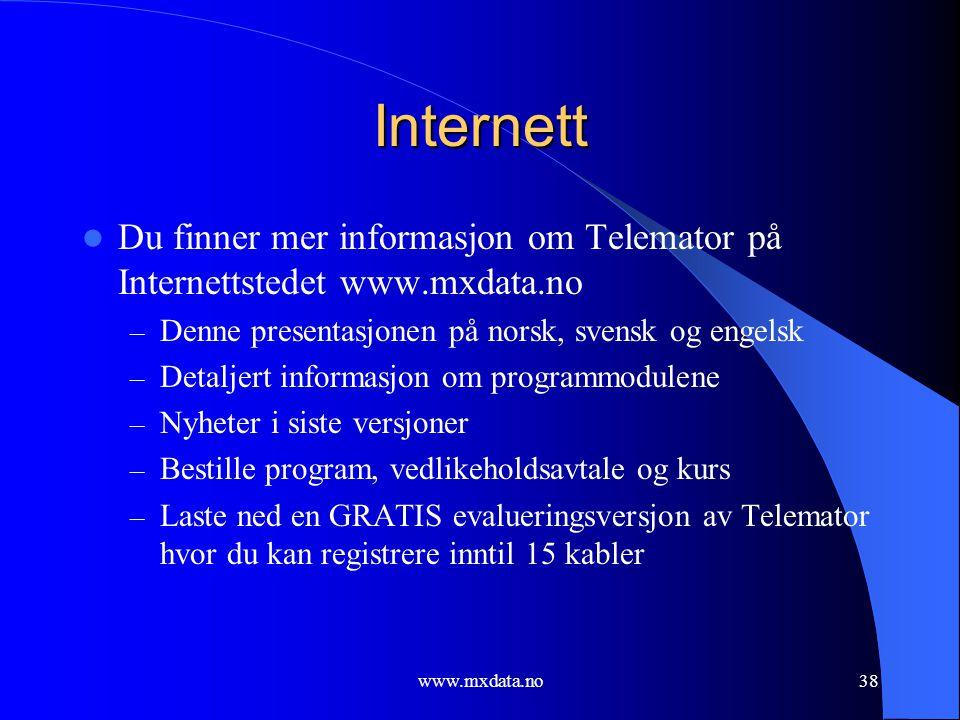 www.mxdata.no38 Internett  Du finner mer informasjon om Telemator på Internettstedet www.mxdata.no – Denne presentasjonen på norsk, svensk og engelsk