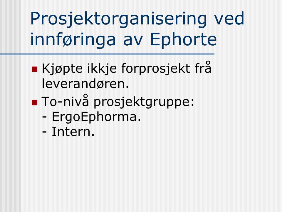 Prosjektorganisering ved innføringa av Ephorte  Kjøpte ikkje forprosjekt frå leverandøren.  To-nivå prosjektgruppe: - ErgoEphorma. - Intern.