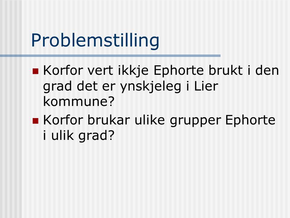 Problemstilling  Korfor vert ikkje Ephorte brukt i den grad det er ynskjeleg i Lier kommune?  Korfor brukar ulike grupper Ephorte i ulik grad?