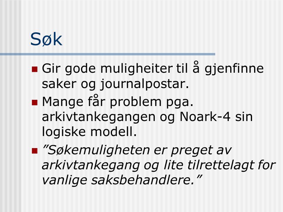 """Søk  Gir gode muligheiter til å gjenfinne saker og journalpostar.  Mange får problem pga. arkivtankegangen og Noark-4 sin logiske modell.  """"Søkemul"""