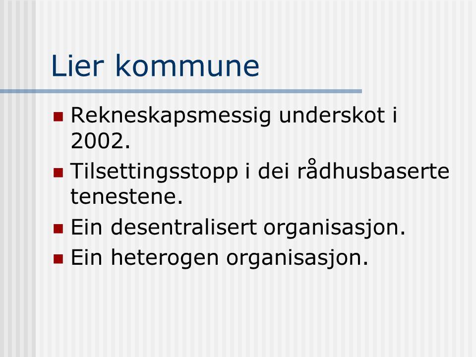 Lier kommune  Rekneskapsmessig underskot i 2002.  Tilsettingsstopp i dei rådhusbaserte tenestene.  Ein desentralisert organisasjon.  Ein heterogen