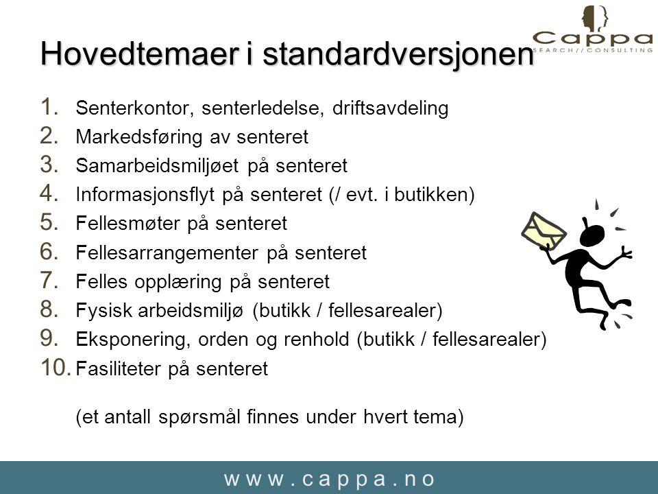 w w w. c a p p a. n o Hovedtemaer i standardversjonen 1.