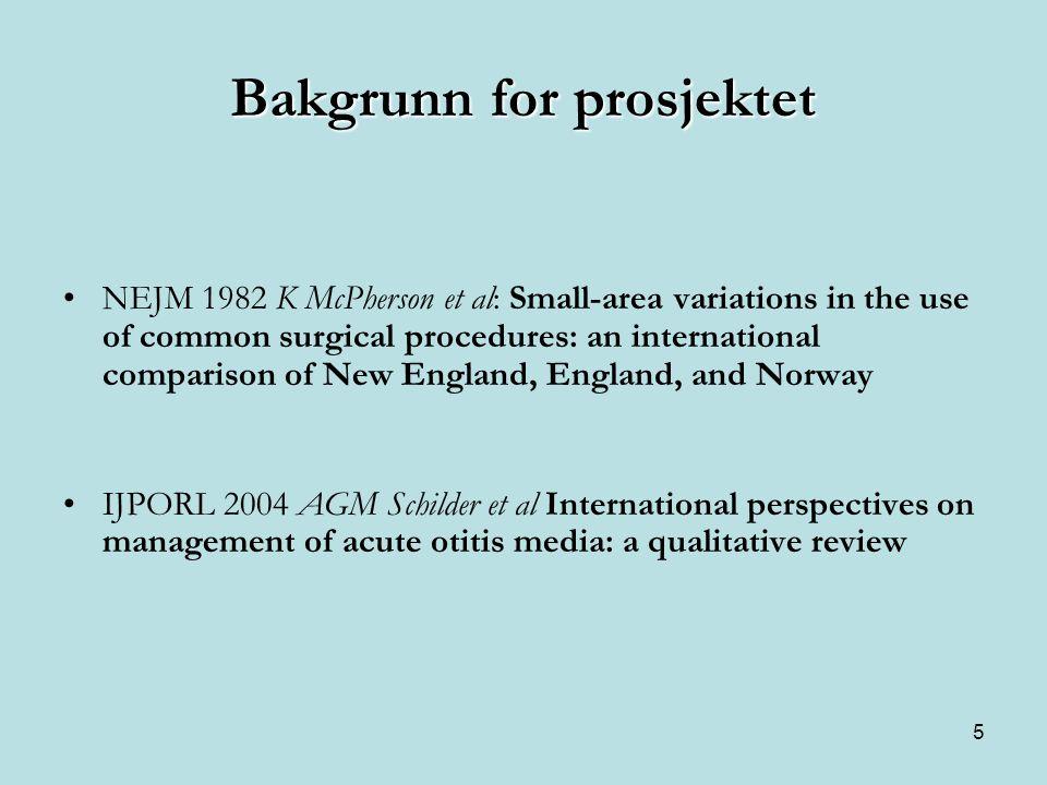 5 Bakgrunn for prosjektet •NEJM 1982 K McPherson et al: Small-area variations in the use of common surgical procedures: an international comparison of