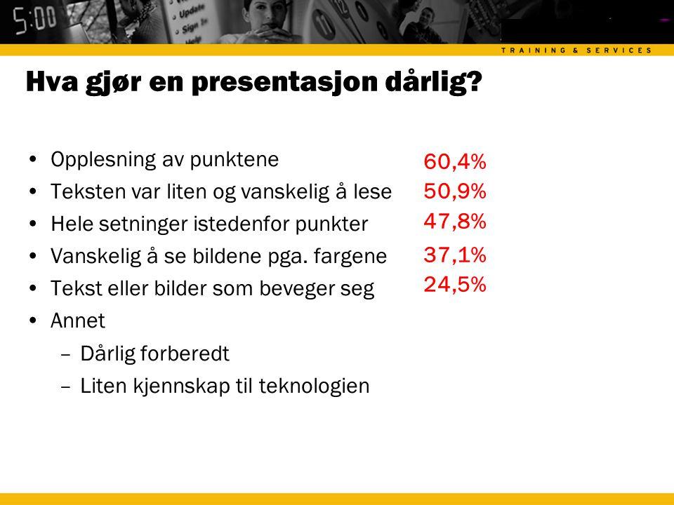 Hva gjør en presentasjon dårlig.