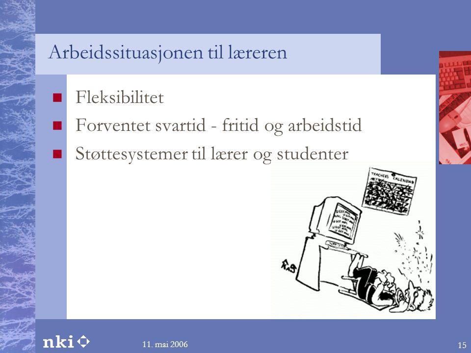 11. mai 2006 15 Arbeidssituasjonen til læreren  Fleksibilitet  Forventet svartid - fritid og arbeidstid  Støttesystemer til lærer og studenter