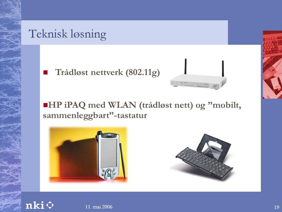 """11. mai 2006 19  Trådløst nettverk (802.11g)  HP iPAQ med WLAN (trådløst nett) og """"mobilt, sammenleggbart""""-tastatur Teknisk løsning"""