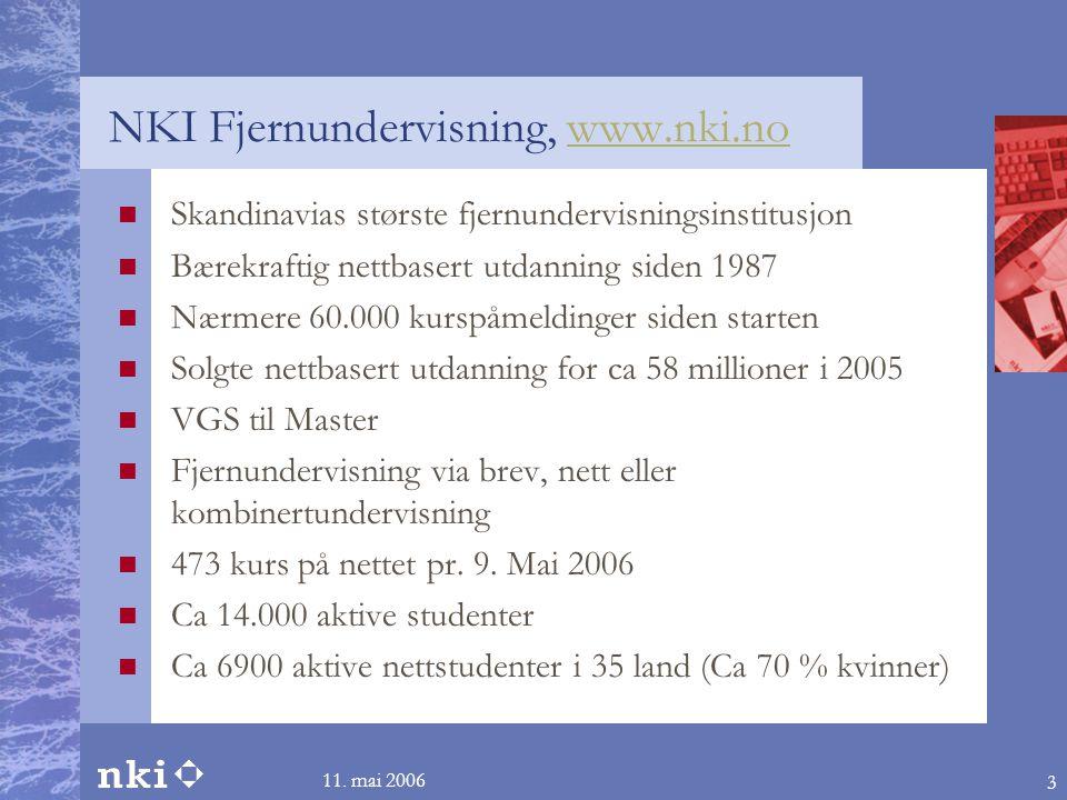 11. mai 2006 3 NKI Fjernundervisning, www.nki.nowww.nki.no  Skandinavias største fjernundervisningsinstitusjon  Bærekraftig nettbasert utdanning sid