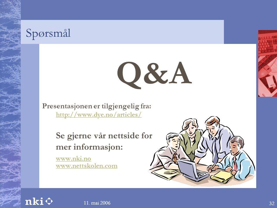 11. mai 2006 32 Spørsmål Q&A Presentasjonen er tilgjengelig fra: http://www.dye.no/articles/ Se gjerne vår nettside for mer informasjon: www.nki.no ww