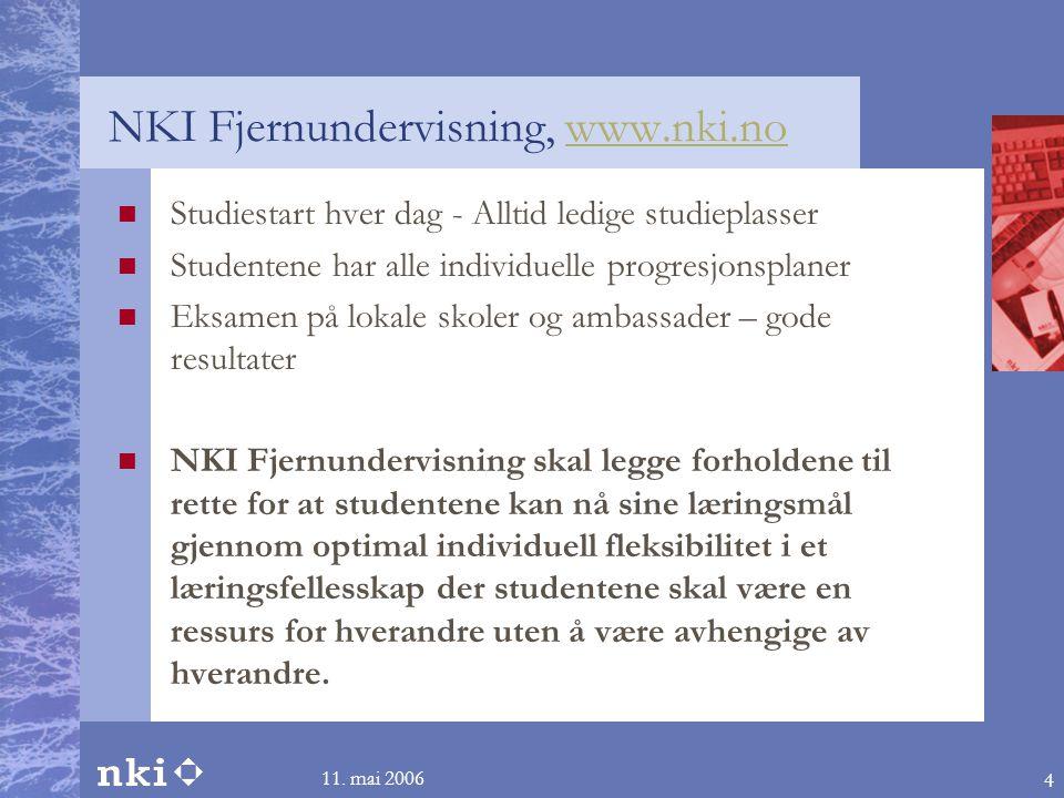 11. mai 2006 4 NKI Fjernundervisning, www.nki.nowww.nki.no  Studiestart hver dag - Alltid ledige studieplasser  Studentene har alle individuelle pro