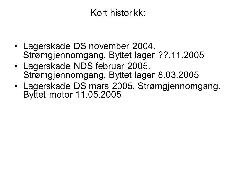 Kort historikk: •Lagerskade DS november 2004. Strømgjennomgang. Byttet lager ??.11.2005 •Lagerskade NDS februar 2005. Strømgjennomgang. Byttet lager 8