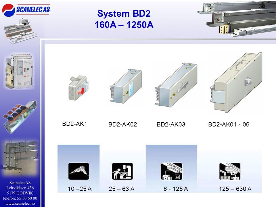 System BD2 160A – 1250A BD2-AK1 BD2-AK02BD2-AK03BD2-AK04 - 06 10 –25 A 25 – 63 A 6 - 125 A 125 – 630 A