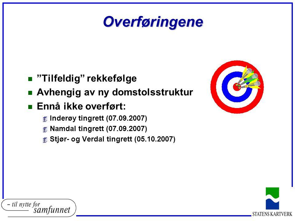 Overføringene n Tilfeldig rekkefølge n Avhengig av ny domstolsstruktur n Ennå ikke overført: 4 Inderøy tingrett (07.09.2007) 4 Namdal tingrett (07.09.2007) 4 Stjør- og Verdal tingrett (05.10.2007)