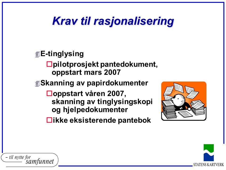 Krav til rasjonalisering 4 E-tinglysing opilotprosjekt pantedokument, oppstart mars 2007 4 Skanning av papirdokumenter ooppstart våren 2007, skanning av tinglysingskopi og hjelpedokumenter oikke eksisterende pantebok