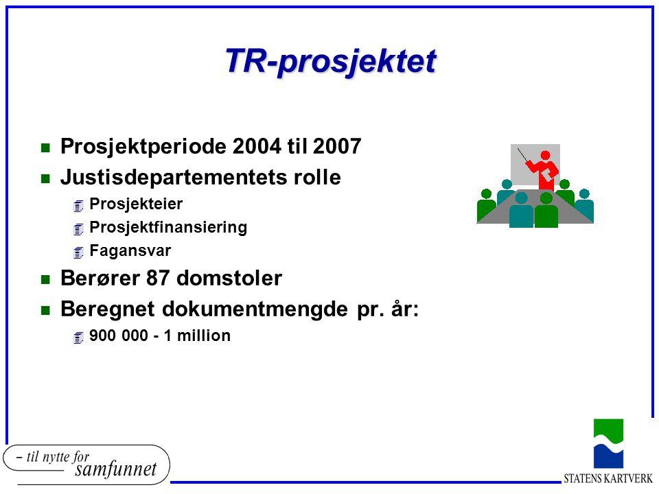 TR-prosjektet n Prosjektperiode 2004 til 2007 n Justisdepartementets rolle 4 Prosjekteier 4 Prosjektfinansiering 4 Fagansvar n Berører 87 domstoler n Beregnet dokumentmengde pr.