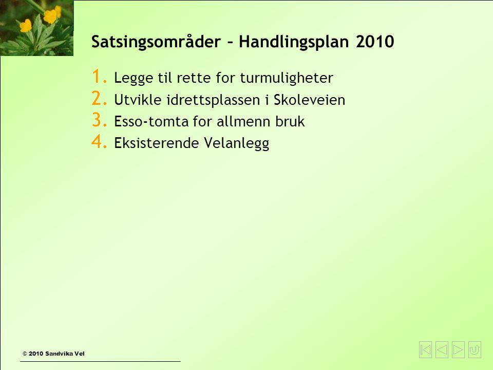 © 2010 Sandvika Vel Satsingsområder – Handlingsplan 2010 1. Legge til rette for turmuligheter 2. Utvikle idrettsplassen i Skoleveien 3. Esso-tomta for