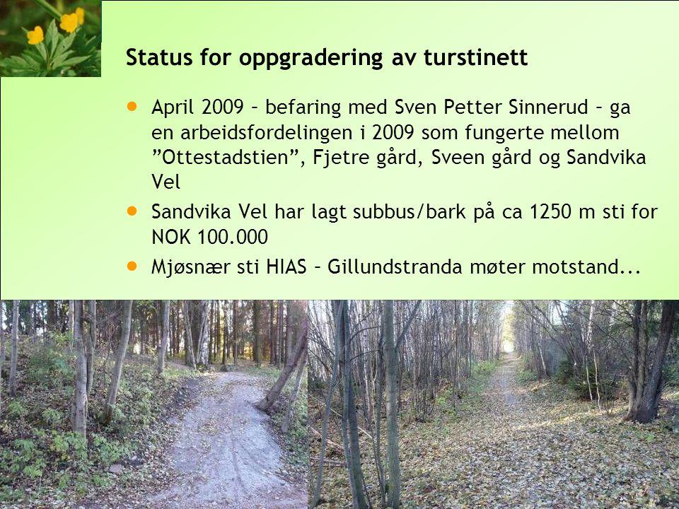 © 2010 Sandvika Vel Status for oppgradering av turstinett  April 2009 – befaring med Sven Petter Sinnerud – ga en arbeidsfordelingen i 2009 som funge
