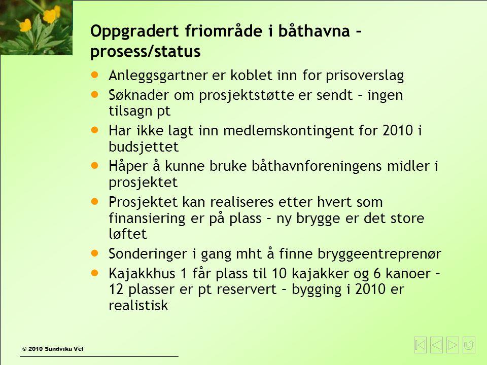 Oppgradert friområde i båthavna – prosess/status  Anleggsgartner er koblet inn for prisoverslag  Søknader om prosjektstøtte er sendt – ingen tilsagn