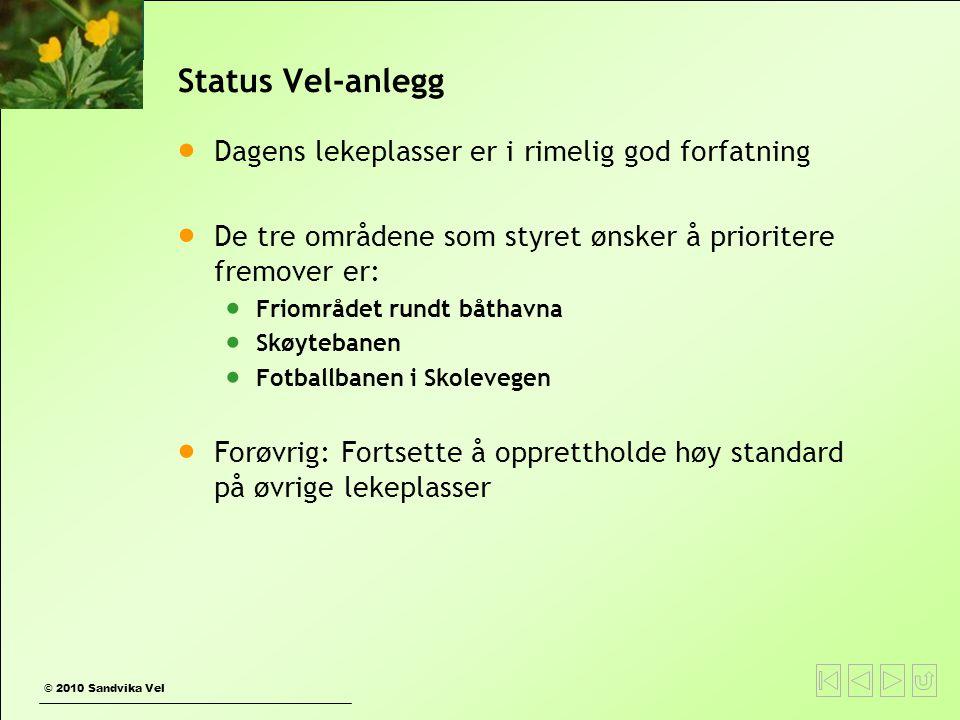 © 2010 Sandvika Vel Status Vel-anlegg  Dagens lekeplasser er i rimelig god forfatning  De tre områdene som styret ønsker å prioritere fremover er: 