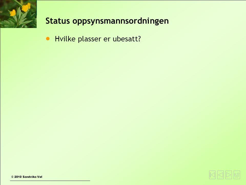 © 2010 Sandvika Vel Status oppsynsmannsordningen  Hvilke plasser er ubesatt?