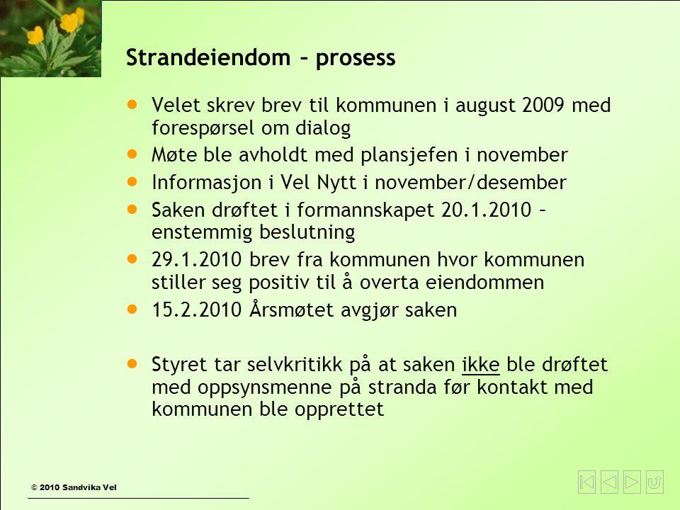 © 2010 Sandvika Vel Strandeiendom – prosess  Velet skrev brev til kommunen i august 2009 med forespørsel om dialog  Møte ble avholdt med plansjefen