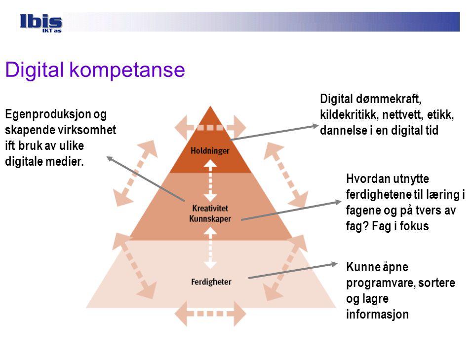 """Digital kompetanse  Hva forstår du med begrepet digital kompetanse og hva kjennetegner en digitalt kompetent skole? """"Digital kompetanse er ferdighete"""