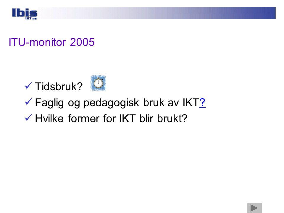ITU-monitor 2005  Tidsbruk. Faglig og pedagogisk bruk av IKT?.