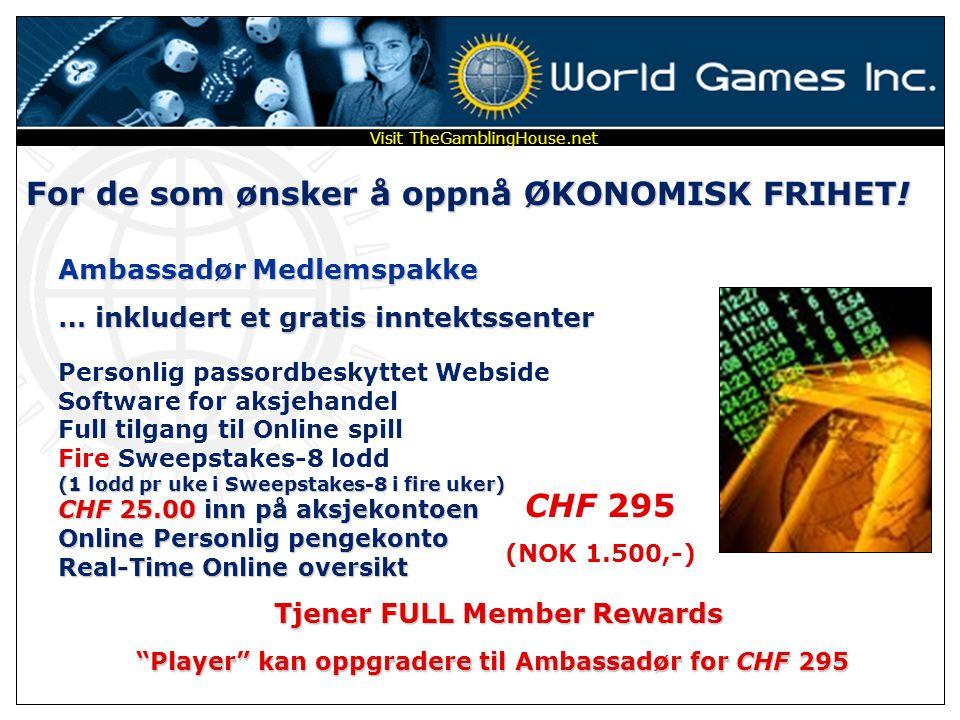 For de som ønsker å HANDLE AKSJER og SPILLE SPILL … inkludert gratis inntektssenter Player Medlemspakke Personlig passordbeskyttet Webside Software fo