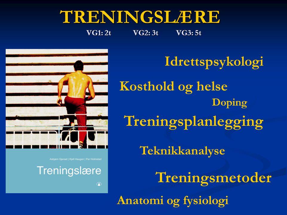 TRENINGSLÆRE VG1: 2t VG2: 3t VG3: 5t Idrettspsykologi Anatomi og fysiologi Kosthold og helse Treningsplanlegging Teknikkanalyse Treningsmetoder Doping