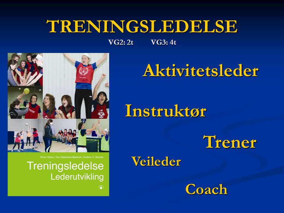 TRENINGSLEDELSE VG2: 2t VG3: 4t Trener Instruktør Aktivitetsleder Veileder Coach