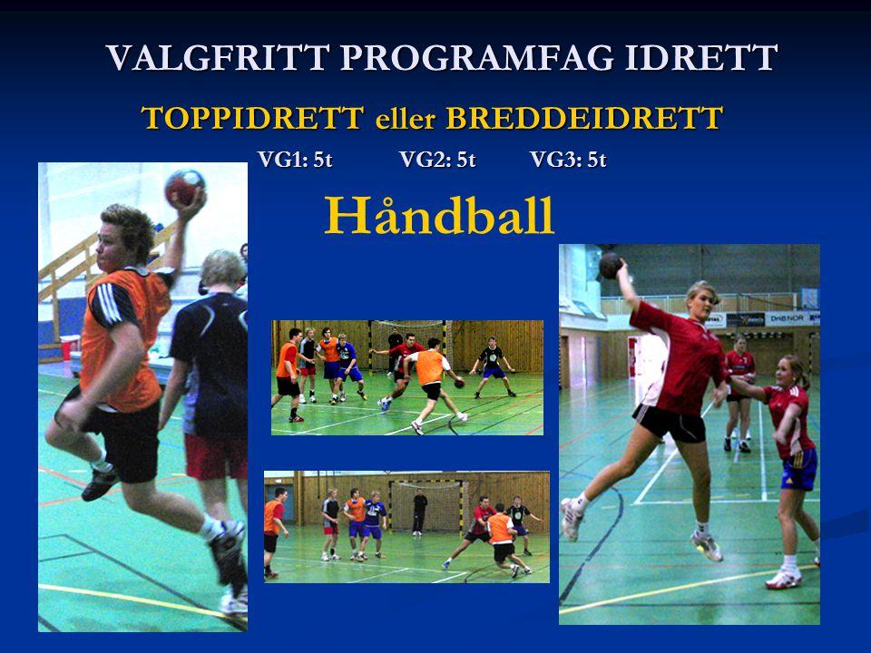 VALGFRITT PROGRAMFAG IDRETT TOPPIDRETT eller BREDDEIDRETT VG1: 5t VG2: 5t VG3: 5t Håndball