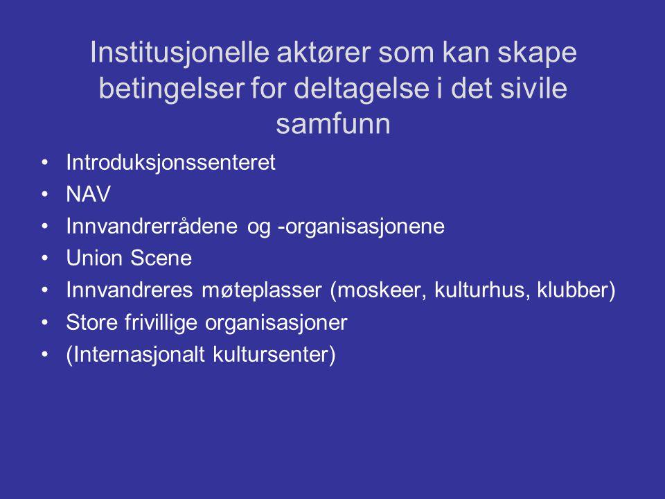 Institusjonelle aktører som kan skape betingelser for deltagelse i det sivile samfunn •Introduksjonssenteret •NAV •Innvandrerrådene og -organisasjonen