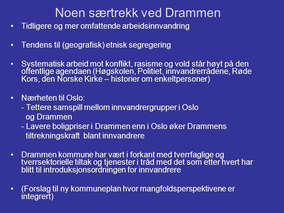 Noen særtrekk ved Drammen •Tidligere og mer omfattende arbeidsinnvandring •Tendens til (geografisk) etnisk segregering •Systematisk arbeid mot konflik