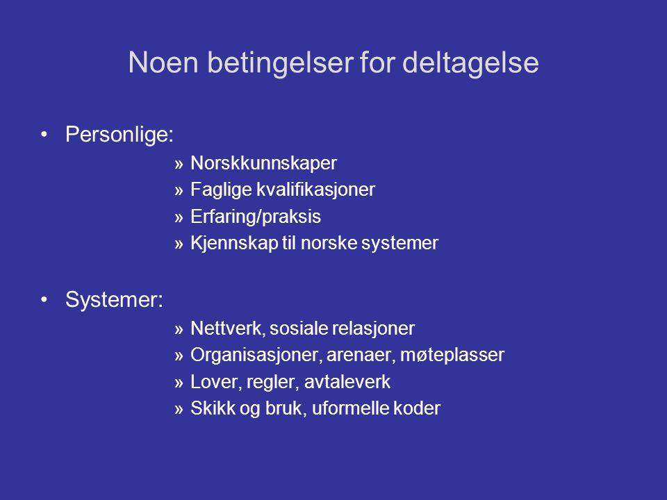 Noen betingelser for deltagelse •Personlige: »Norskkunnskaper »Faglige kvalifikasjoner »Erfaring/praksis »Kjennskap til norske systemer •Systemer: »Ne