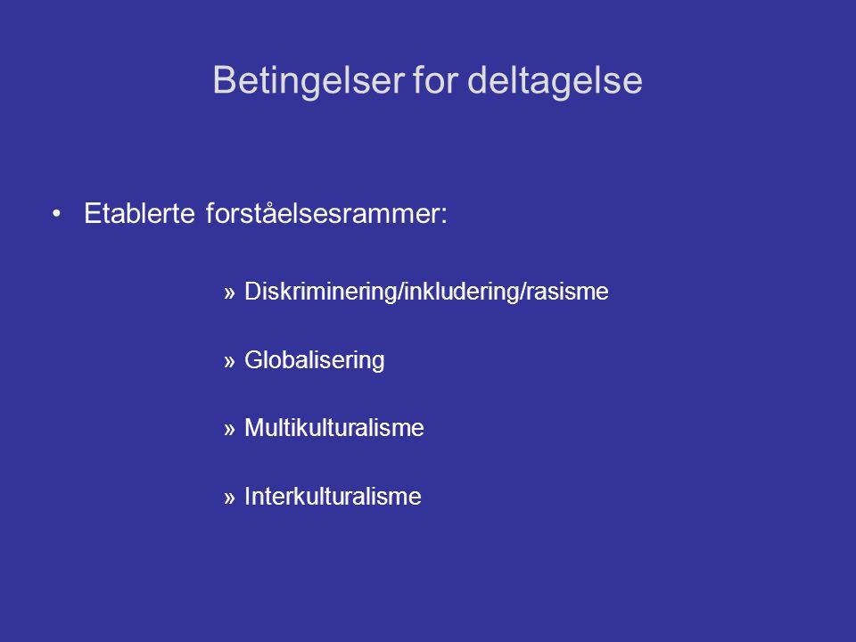Betingelser for deltagelse •Etablerte forståelsesrammer: »Diskriminering/inkludering/rasisme »Globalisering »Multikulturalisme »Interkulturalisme