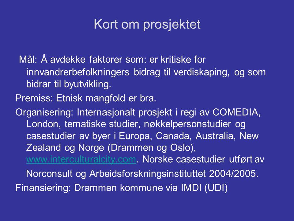 Kort om prosjektet Mål: Å avdekke faktorer som: er kritiske for innvandrerbefolkningers bidrag til verdiskaping, og som bidrar til byutvikling. Premis