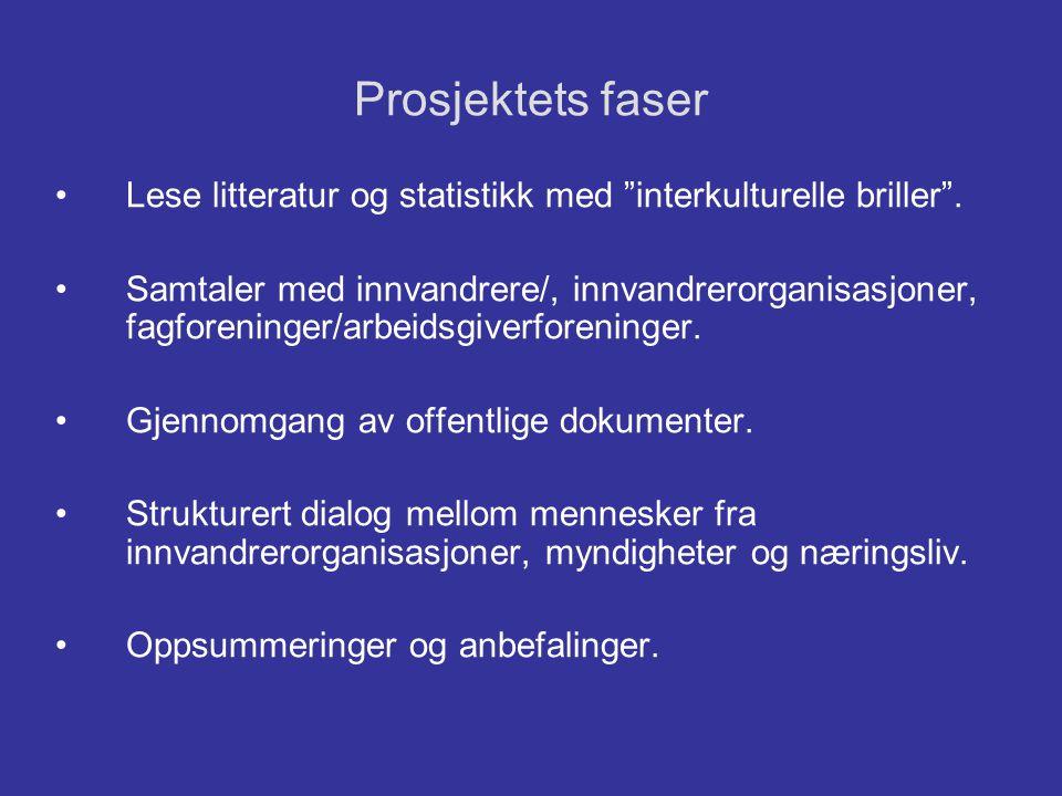 """Prosjektets faser •Lese litteratur og statistikk med """"interkulturelle briller"""". •Samtaler med innvandrere/, innvandrerorganisasjoner, fagforeninger/ar"""
