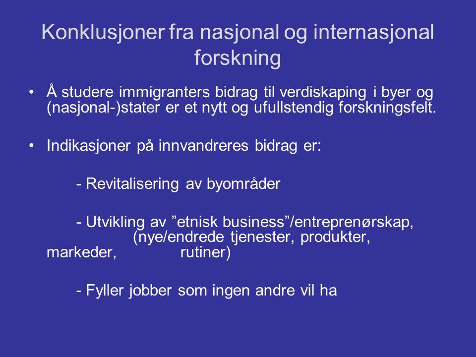 Konklusjoner fra nasjonal og internasjonal forskning •Å studere immigranters bidrag til verdiskaping i byer og (nasjonal-)stater er et nytt og ufullst