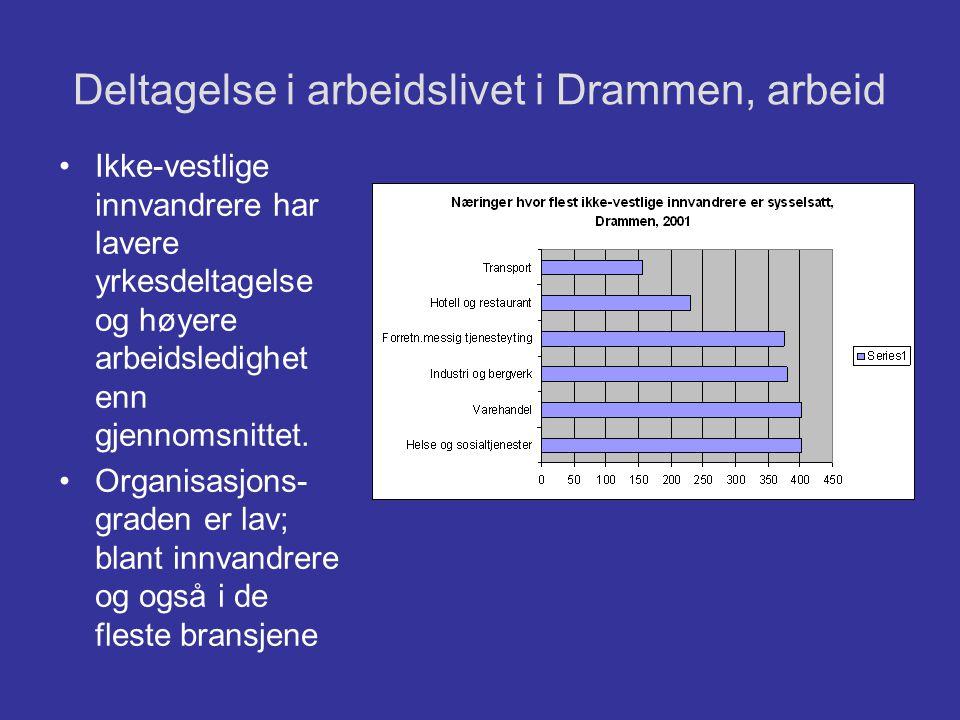 Deltagelse i arbeidslivet i Drammen, arbeid •Ikke-vestlige innvandrere har lavere yrkesdeltagelse og høyere arbeidsledighet enn gjennomsnittet. •Organ