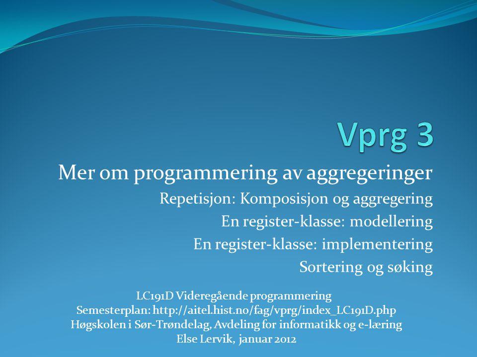 Mer om programmering av aggregeringer Repetisjon: Komposisjon og aggregering En register-klasse: modellering En register-klasse: implementering Sorter