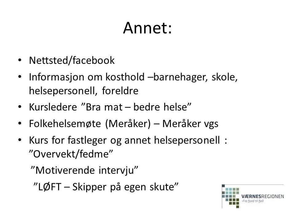 """Annet: • Nettsted/facebook • Informasjon om kosthold –barnehager, skole, helsepersonell, foreldre • Kursledere """"Bra mat – bedre helse"""" • Folkehelsemøt"""