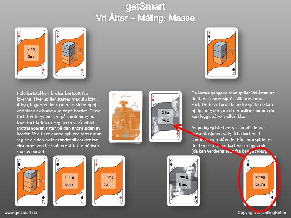 Hele kortstokken brukes bortsett fra jokerne. Hver spiller starter med sju kort.