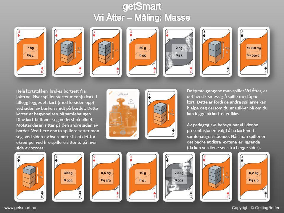 Hele kortstokken brukes bortsett fra jokerne.Hver spiller starter med sju kort.