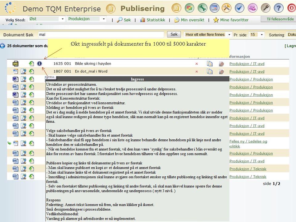 Økt ingressfelt på dokumenter fra 1000 til 5000 karakter