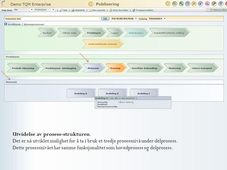 Utvidelse av prosess-strukturen. Det er nå utviklet mulighet for å ta i bruk et tredje prosessnivå under delprosess. Dette prosessnivået har samme fun