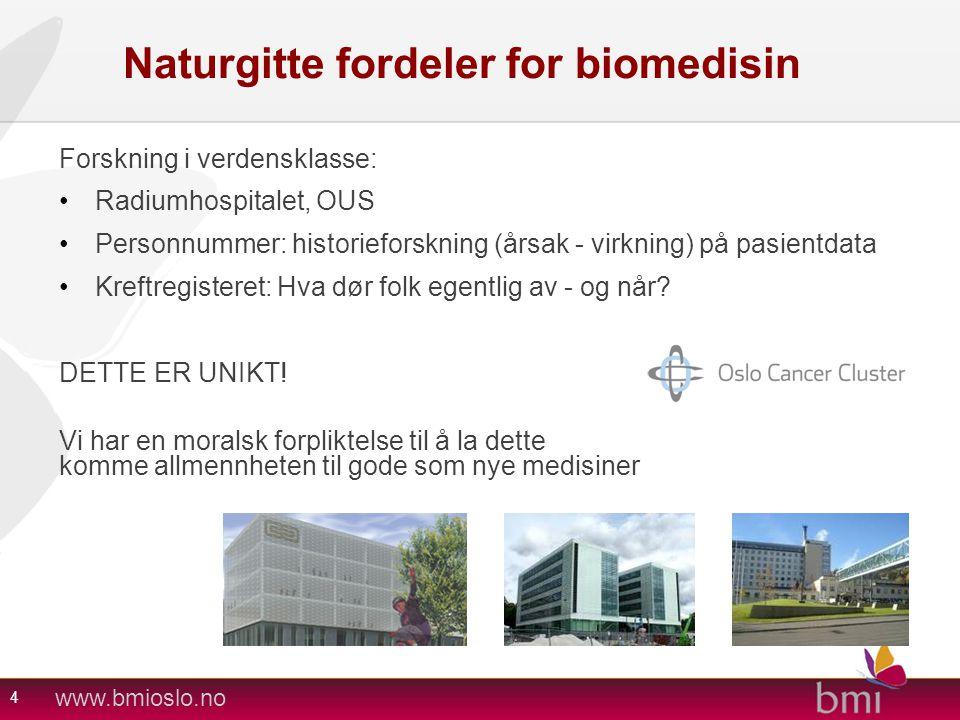 www.bmioslo.no Naturgitte fordeler for biomedisin Forskning i verdensklasse: •Radiumhospitalet, OUS •Personnummer: historieforskning (årsak - virkning